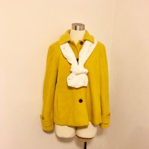 Lands' End Gold Wool Blend Button Up Coat
